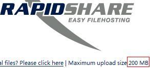 rapidshare file size 200M